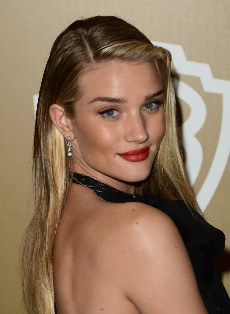 Rosie Huntington-Whiteley gave an over-the-shoulder pose.