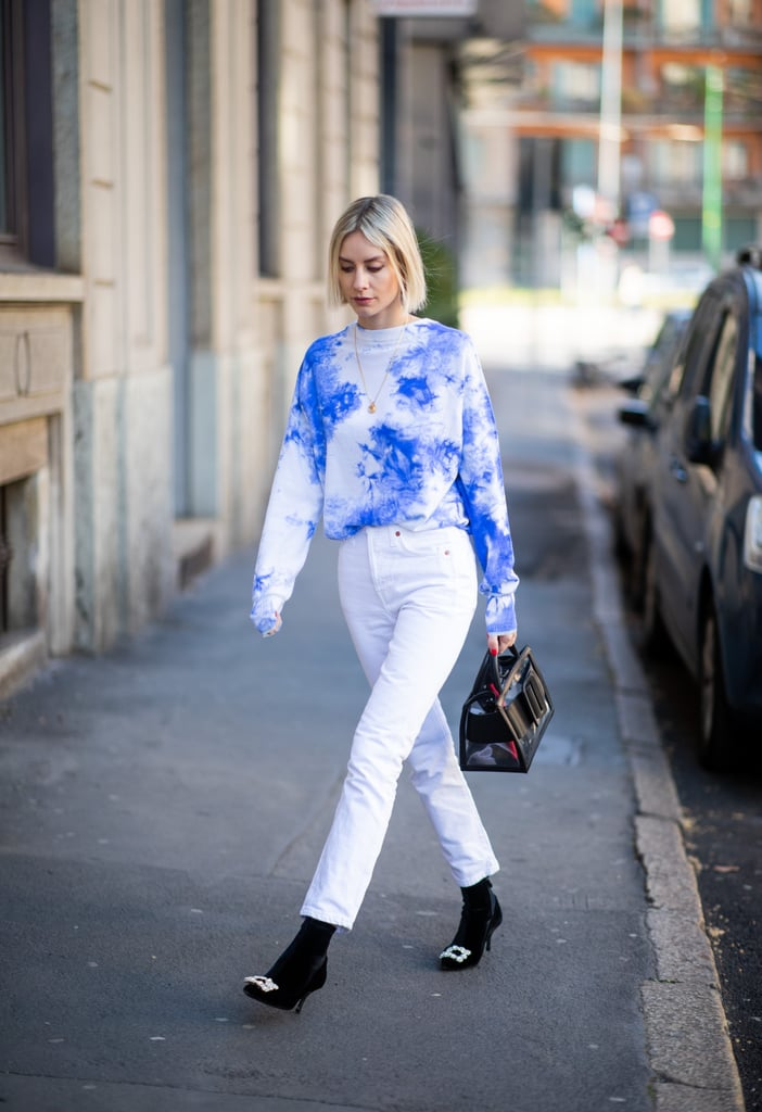 Liven up white jeans with an on-trend tie-dye tee