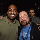 Kanye West and Ken Ehrlich, executive producer of the Grammy Awards, embraced during Grammys rehearsals.