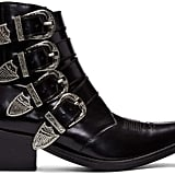 Toga Pulla Black Four-Buckle Western Boots