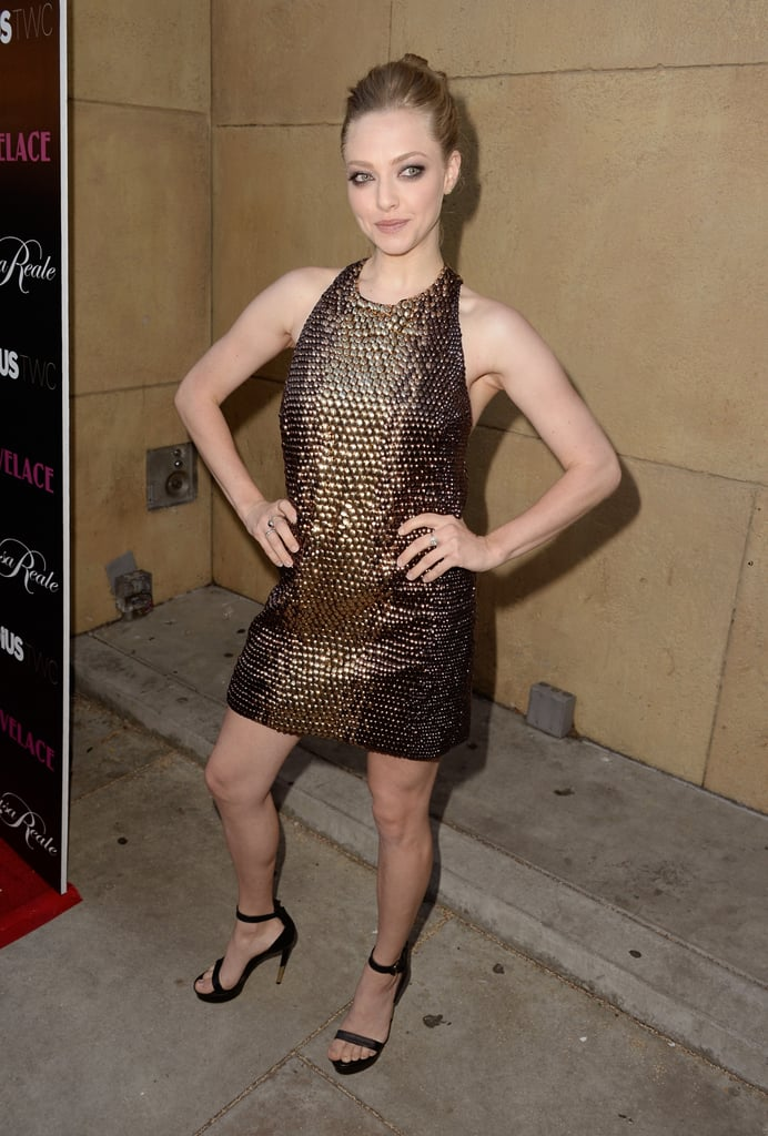 Amanda Seyfried struck a sexy pose at her LA premiere of Lovelace.