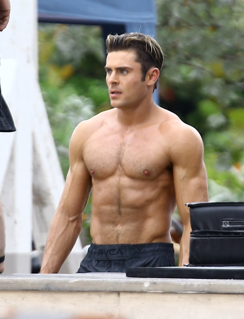 Zac Efron Shirtless Baywatch Movie Set Pictures Popsugar