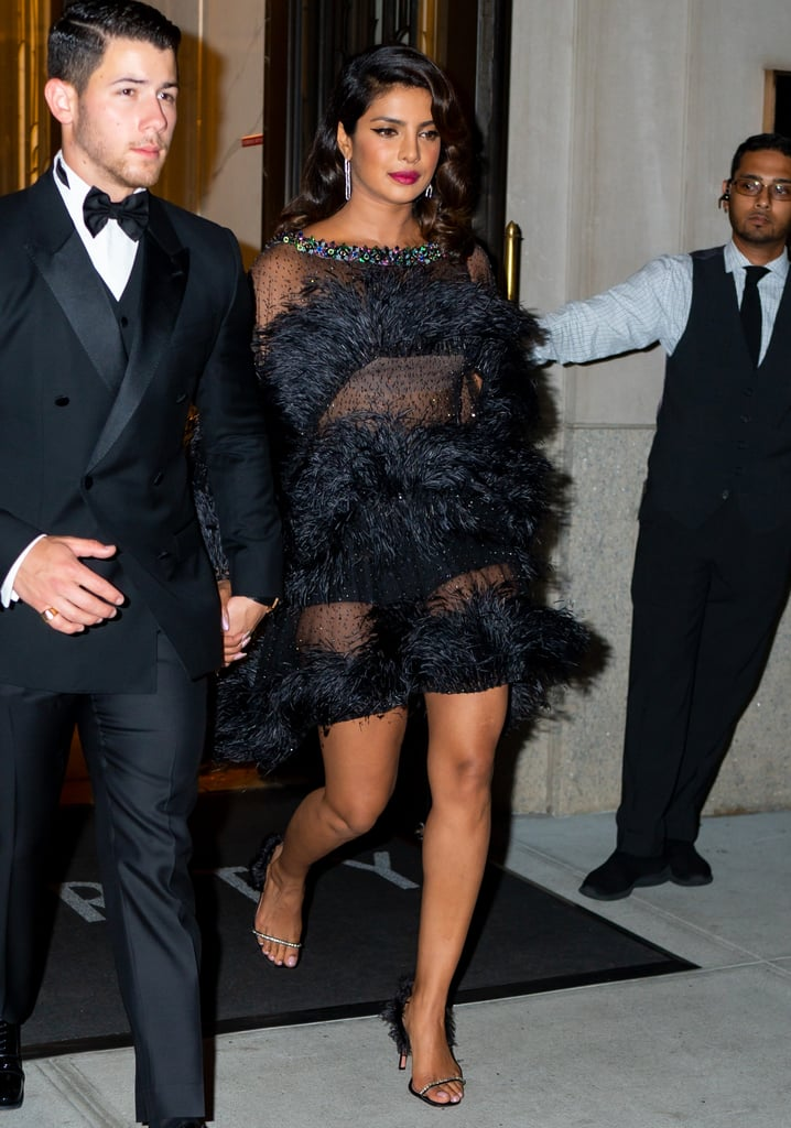 Priyanka Chopra Black Feather Dress and Heels 2019