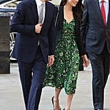 When the Duke and Duchess of Sussex arrived at a special reception in honor of the 2018 Invictus Games, Meghan was wearing a Self-Portrait dress . . . without tights.