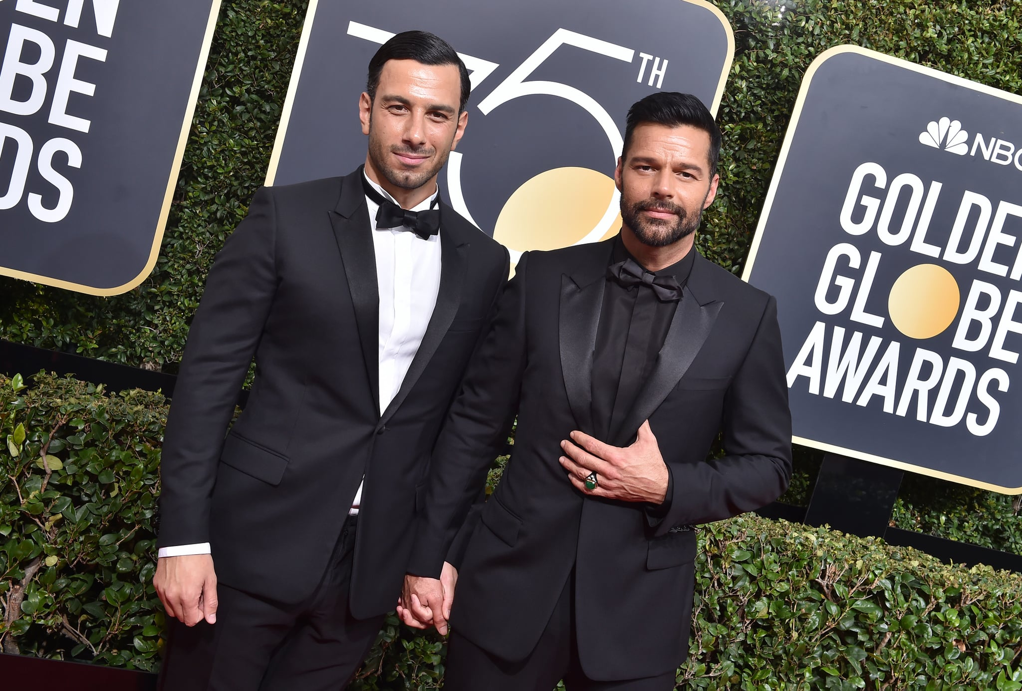 BEVERLY HILLS, CA - JANUARY 07:  Singer Ricky Martin (R) and Jwan Yosef attend the 75th Annual Golden Globe Awards at The Beverly Hilton Hotel on January 7, 2018 in Beverly Hills, California.  (Photo by Axelle/Bauer-Griffin/FilmMagic)