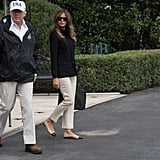 Melania Carrying a Black Hermès Birkin Bag
