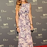 Her look at the Met Gala was all drama; this one was just gorgeous. Sarah Jessica Parker arrived at the Tate Americas Foundation Artists Dinner in a beautiful, floral vintage gown.