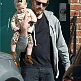 Eric Johnson carried baby Maxwell during a a father-daughter afternoon.