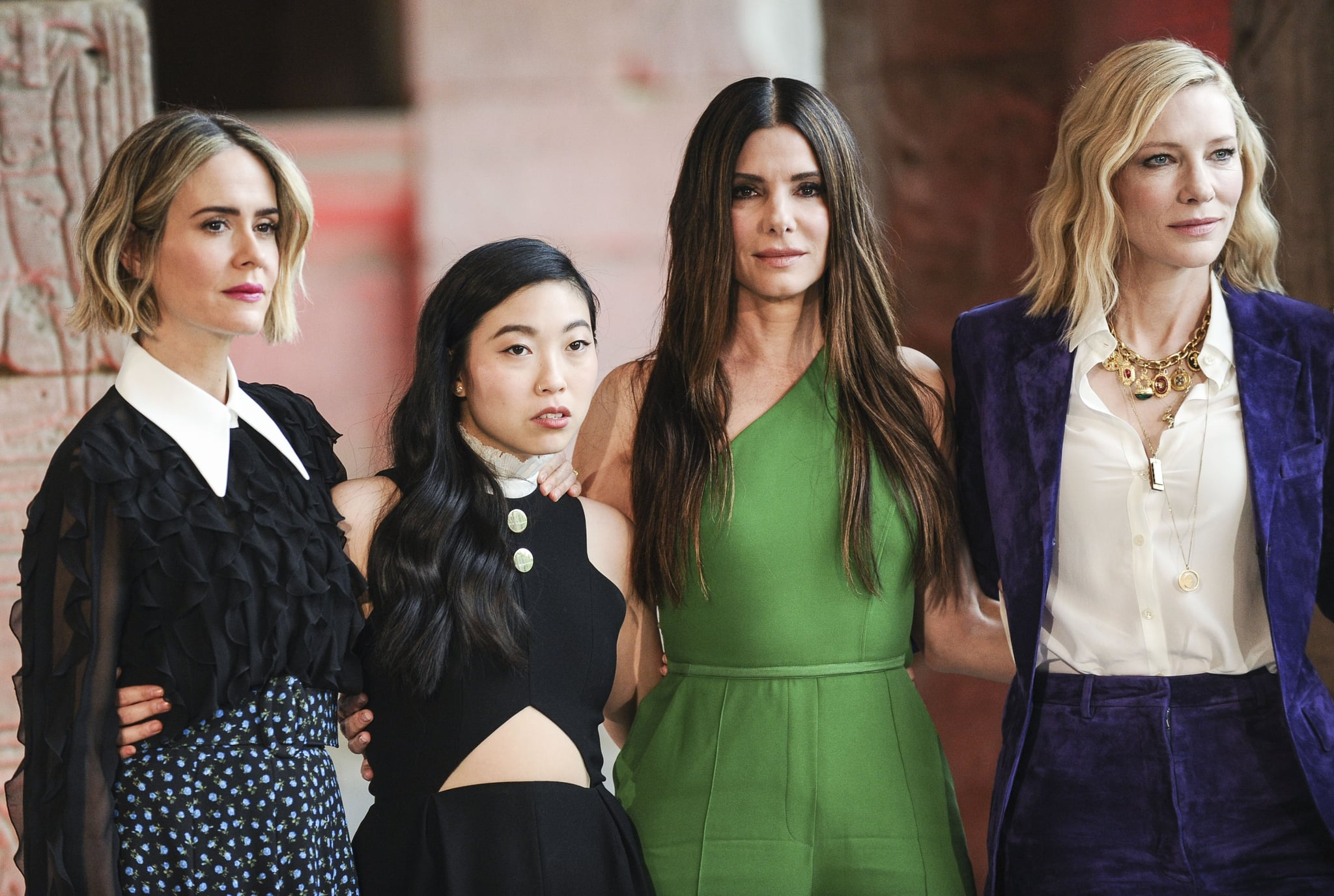 NEW YORK, NY - MAY 22:  (L-R) Sarah Paulson, Awkwafina, Sandra Bullock and Cate Blanchett attend the 'Ocean's 8' worldwide photo call at The Metropolitan Museum of Art on May 22, 2018 in New York City.  (Photo by Daniel Zuchnik/FilmMagic)