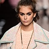 Kaia Gerber's Messy Topknot and Dark Eyeliner