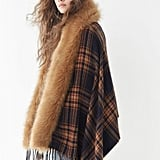 Urban Outfitters Faux-Fur Trimmed Plaid Poncho