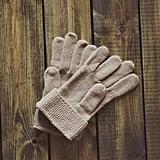 Wearing mittens outside.