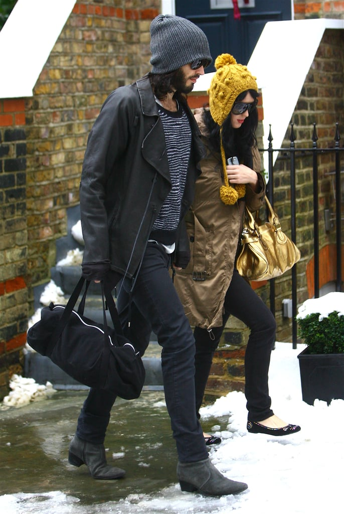 Photos of Katy Perry and Russell Brand Out In The Snow in London