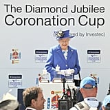 The queen smiled as she presented the Diamond Jubilee Coronation Cup.