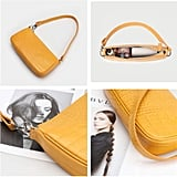 Barabum Crocodile Pattern Shoulder Baguette Bag in Yellow