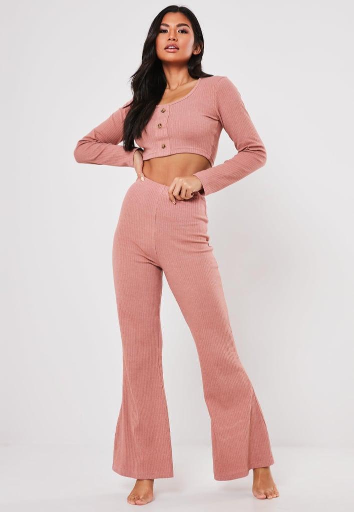 Blush Rib Button-Front Loungewear Set