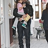 Ben Affleck carried Seraphina out of breakfast in LA.