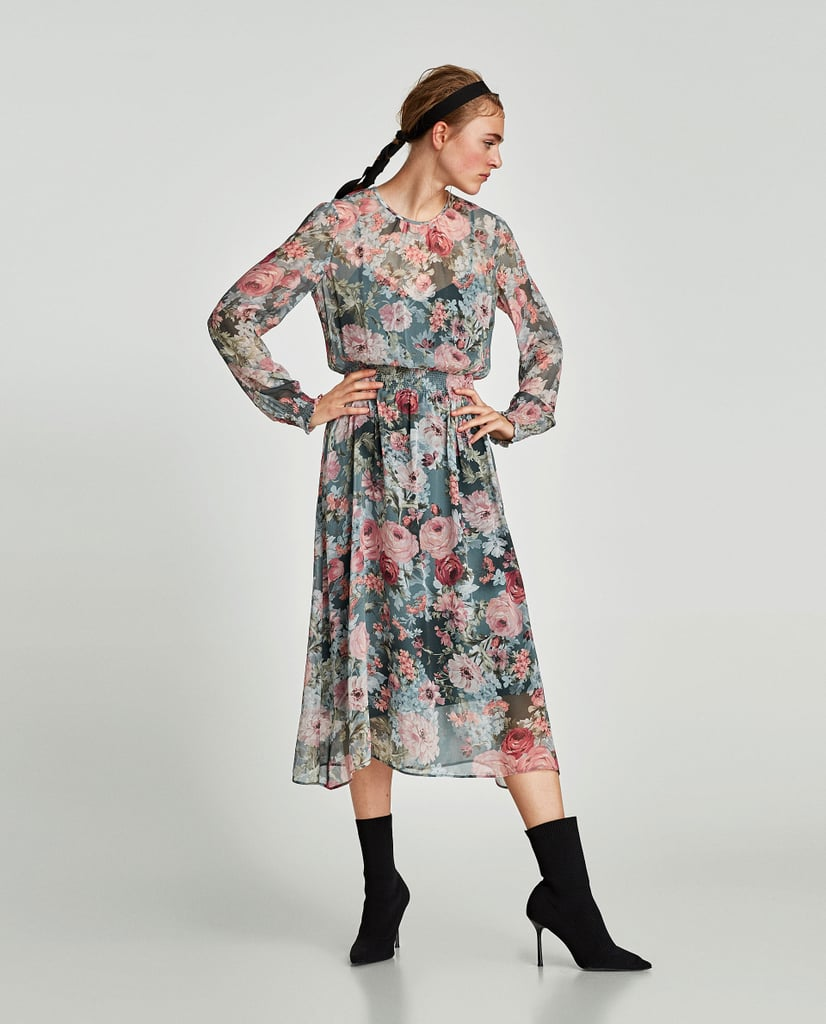 Queen Letizia Floral Zara Dress Popsugar Fashion