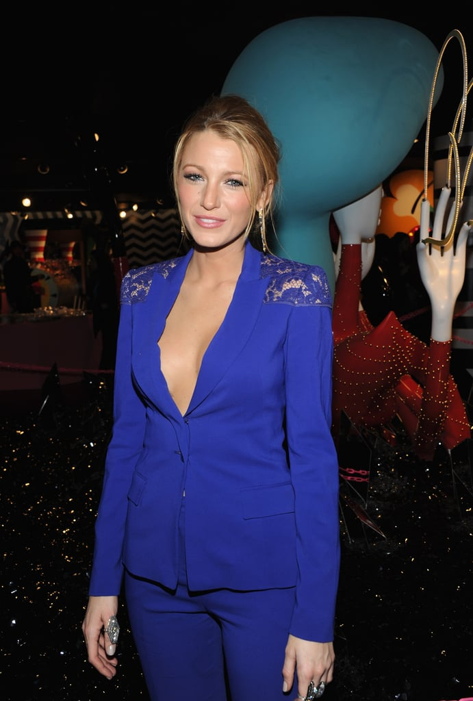 Blake Lively went for a plunging neckline at Barneys.