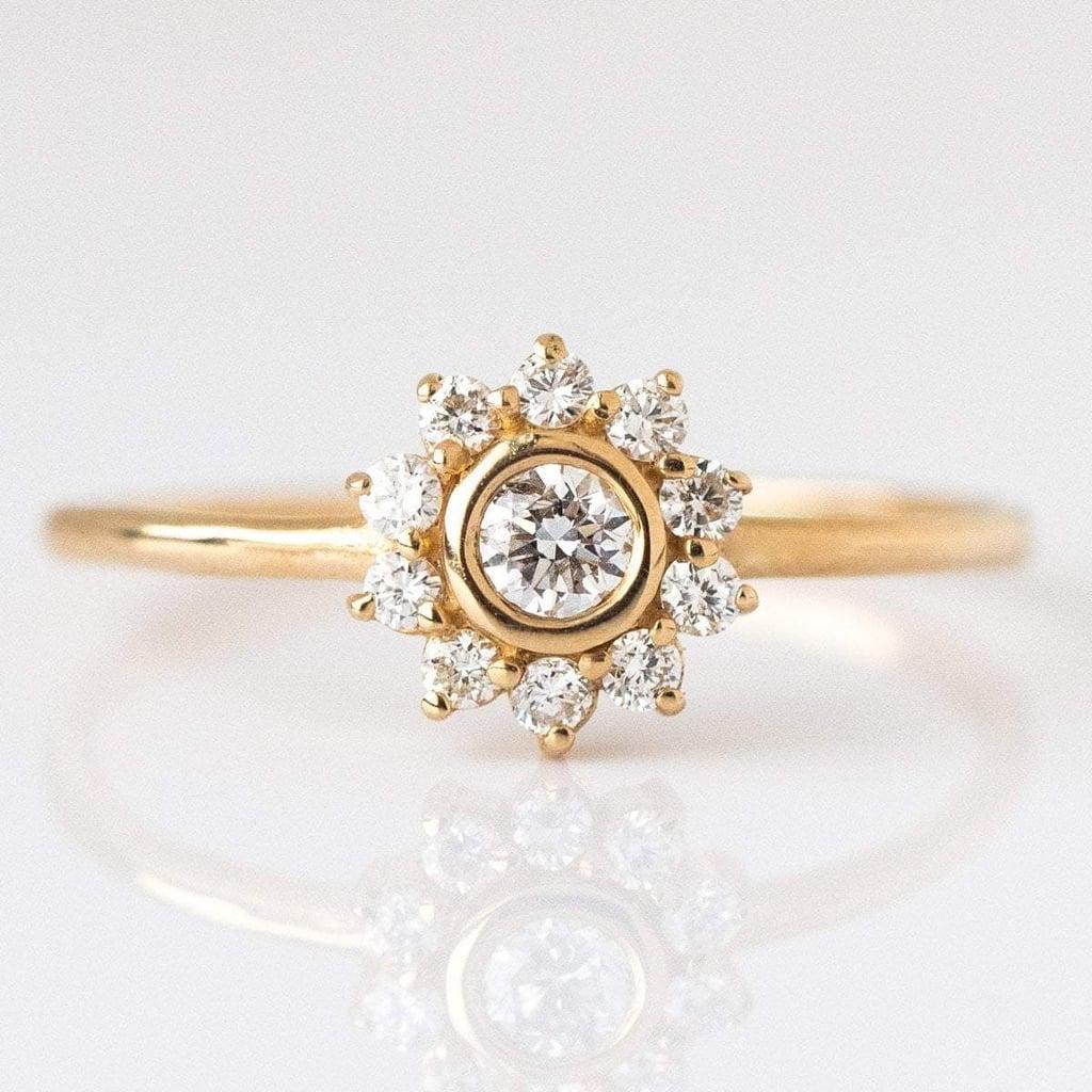 14k Gold Diamond Sunflower Ring