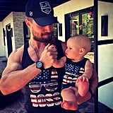 "On Memorial Day 2014, Stephen and Mavi sported matching shirts and he wrote, ""SUNS OUT GUNS OUT!!!"""