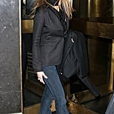 Jen Made Fluted Dark-Wash Denim Look Sophisticated With a Buttoned Blazer