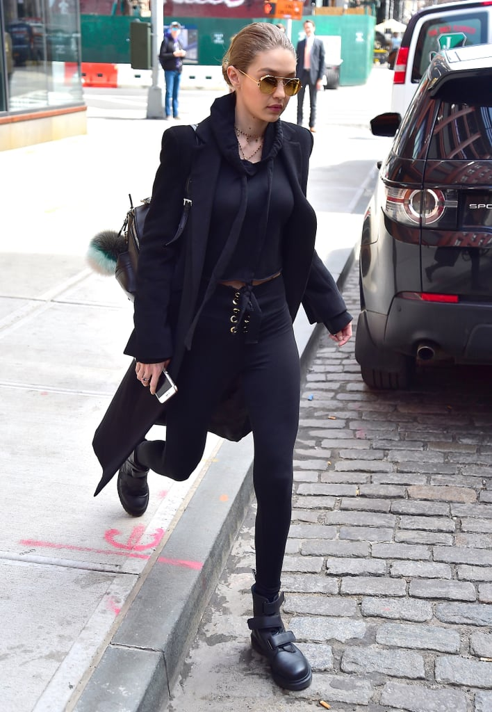 Gigi Hadid Wearing Black Boots | April 2017