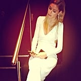 Even while attending a fancy event (in a killer white dress), Doutzen Kroes still made time to check her Instagram feed. Source: Instagram user doutzen