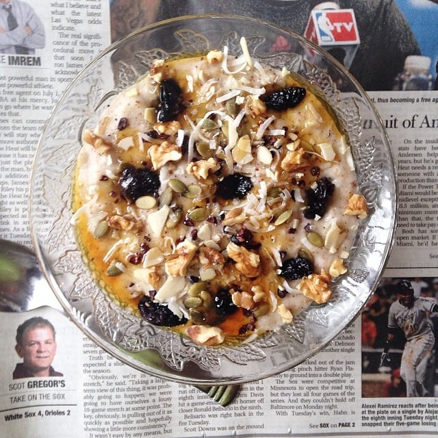 Overnight oats mean less time cooking breakfast and more time reading the news. After pulling these oats from the fridge, the bowl was topped off with agave nectar, raw coconut, and trail mix.