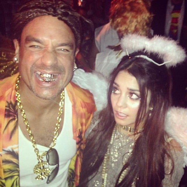Vanessa Hudgens looked angelic for Halloween, making a funny face at her manager, who channeled Spring Breakers. Source: Instagram user vanessahudgens