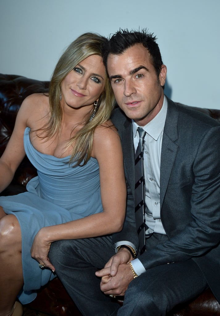 Jennifer Aniston cozied up to her fiancé, Justin Theroux, in Canada.