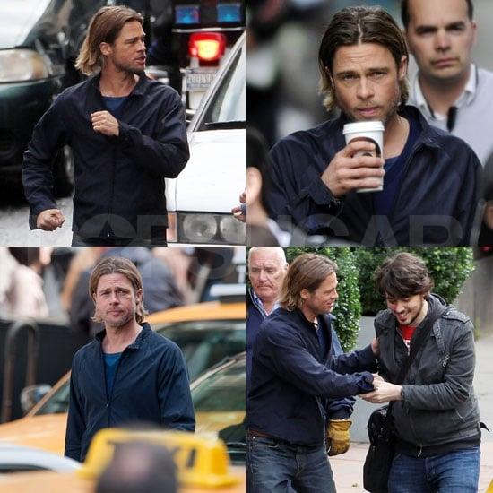 Brad Pitt Pictures on the Glasgow Set of World War Z