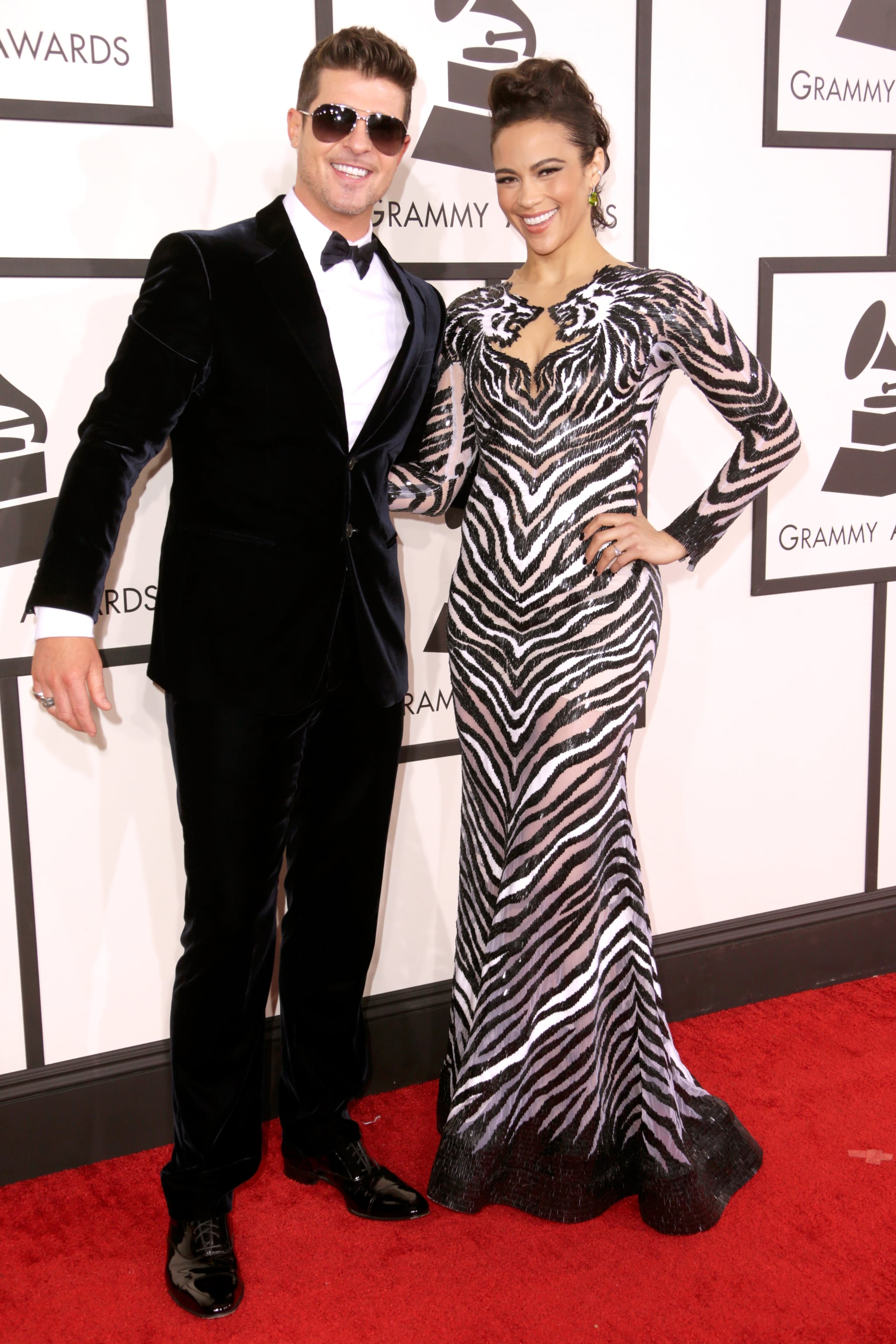 Robin Thicke and Paula Patton were all smiles at the Grammys.