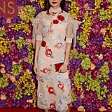 For a special screening of Crazy Rich Asians in London, Gemma wore a beautiful pale pink midi dress by Simone Rocha that was embroidered with colorful flowers.