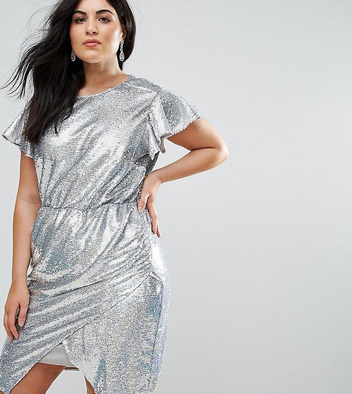 ASOS Curve Sequin Wrap Dress with Tie Neck