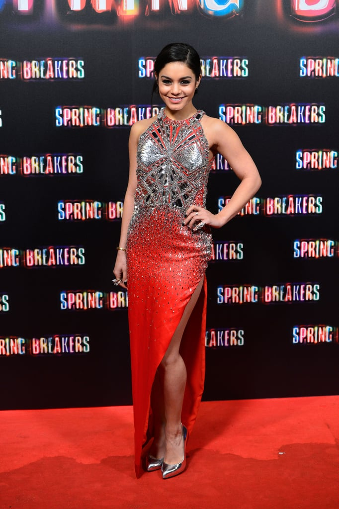 Vanessa Hudgens shined in a red Julien Macdonald gown with silver embellishments and matching silver pumps.