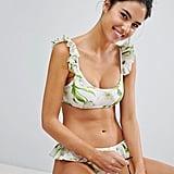 Asos Riviera Floral Crop Frill Bikini Top