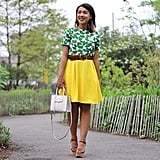 A Colorful Skirt, Printed Top, and Heels