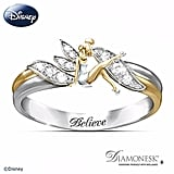 "Sterling silver with 18-karat gold plating Tinker Bell ""Believe"" Two-Toned Engraved Ring ($99)"
