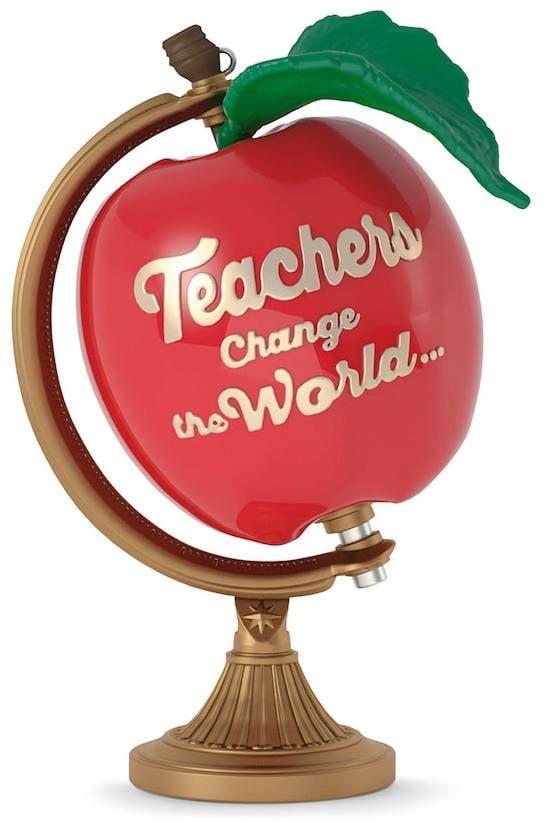 Hallmark Teachers Change the World Apple Globe 2017 Keepsake Christmas Ornament