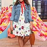 Blogger Courtney Quinn balanced high-impact florals with a classic denim jacket.