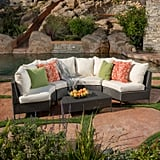 Nicos 5-Piece Gray Wicker Sofa Set With White Cushions