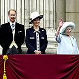 Pictured: Prince Edward, Sophie, Countess of Wessex, Queen Elizabeth, the Queen Mother.