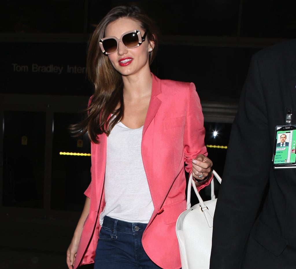 Perhaps Miranda Kerr's most eye-catching sunglasses to date are these oversize geometric pair by Louis Vuitton. These Marc by Marc Jacobs retro sunglasses ($365) feature the same dramatic square shape.