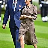 Meghan Markle Fall Outfit Idea: A Plaid Belted Trench Coat