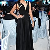 Nina Dobrev looked super-chic in a black cut-out-infused J. Mendel gown at Elton John's 2012 Oscars party.