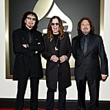 Tony Iommi, Ozzy Osbourne and Geezer Butler of Black Sabbath on the Grammys red carpet.