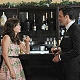 """Jess (Zooey Deschanel) meets a handsome best man (Reid Scott) in New Girl episode """"The Last Wedding."""""""