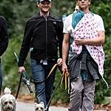Neil Patrick Harris and David Burtka kept twins Harper and Gideon close their hearts — and away from prying eyes — in slings covered by a jacket and an Aden + Anais blanket, respectively.