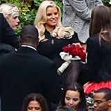 Jessica Simpson mingled at CaCee Cobb and Donald Faison's wedding.